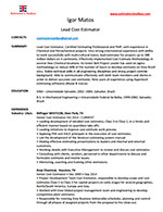 Resume for Igor Matos - Lead Cost Estimator